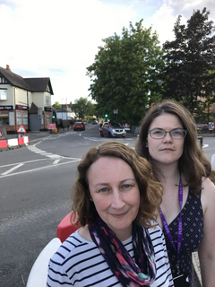 Amy Tisi and Karen Davies at the Hatch Lane junction
