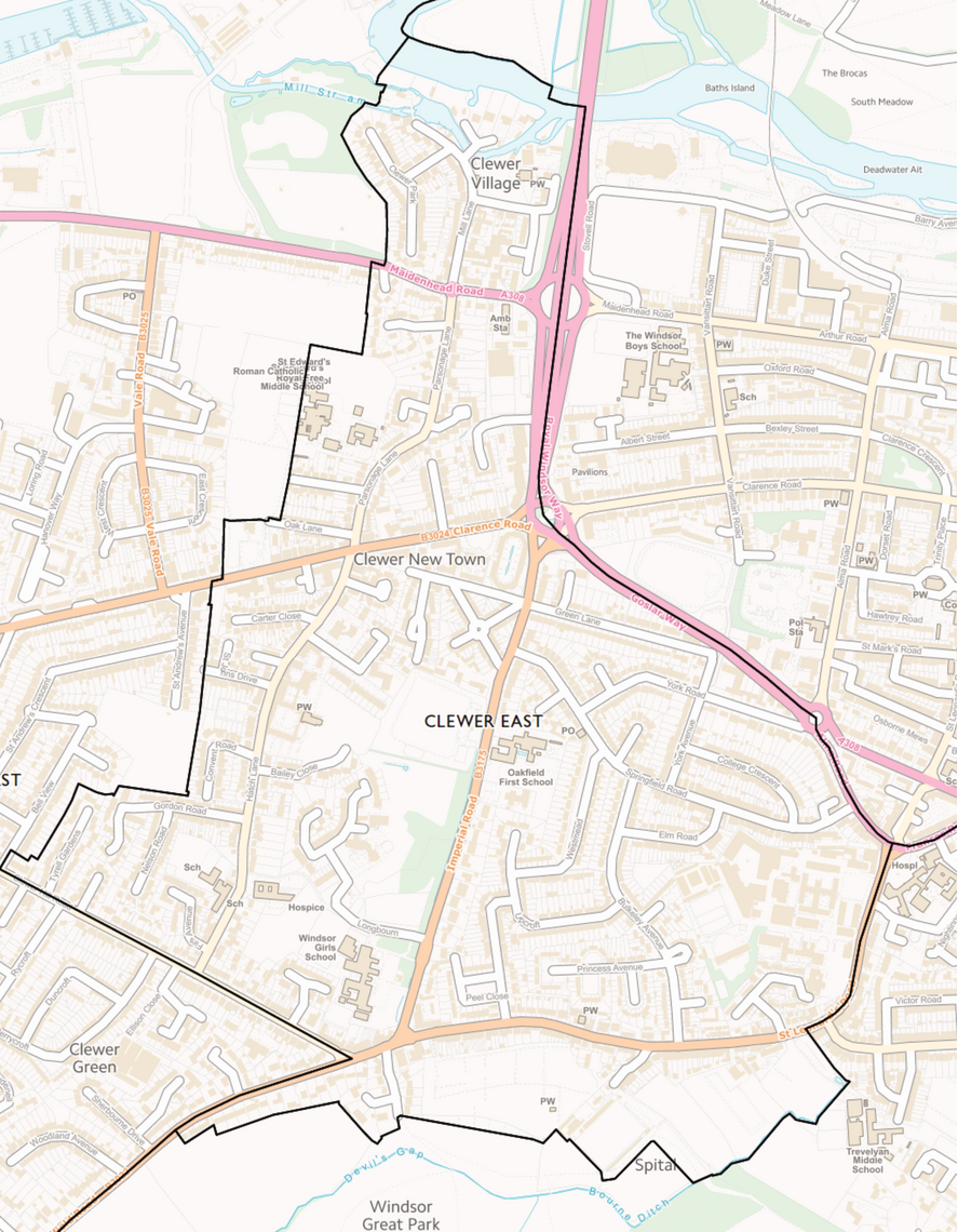 Clewer East Map WCE (Contains Ordnance Survey data © Crown copyright and database right 2021)