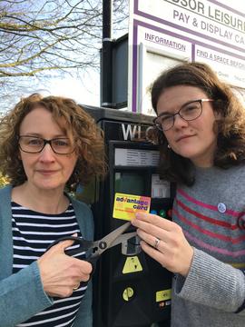 Karen Davies Amy Tisi Parking Advantage Card residents' discount (H Tisi)